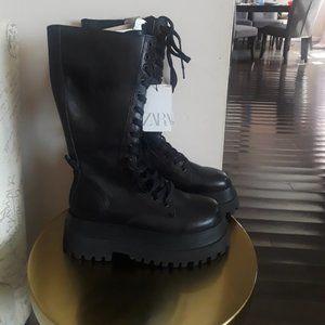 Zara leather platforms combat boots